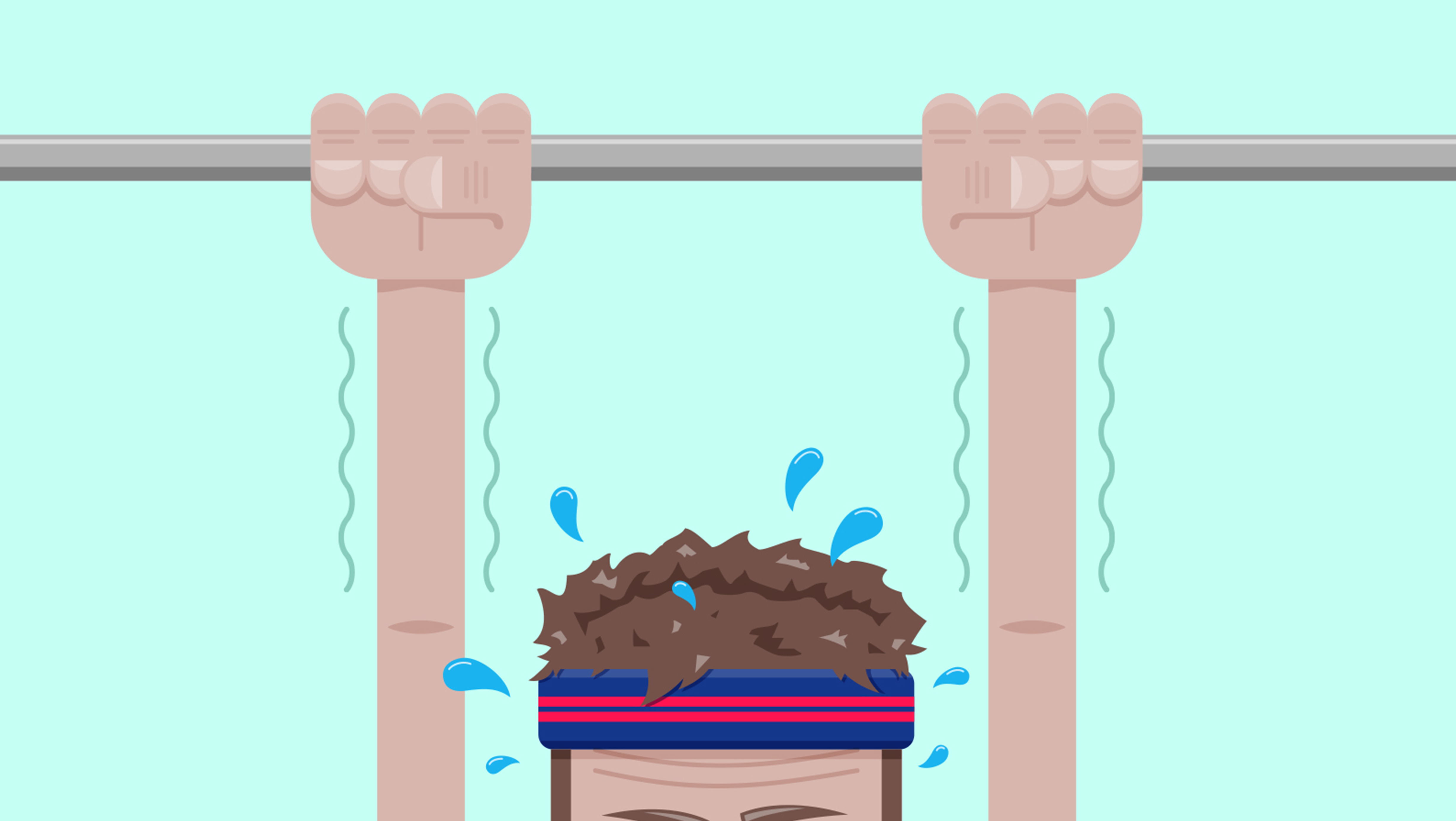 A man attempting a pull-up on a metal bar. His arms are shaking and he's sweating profusely.