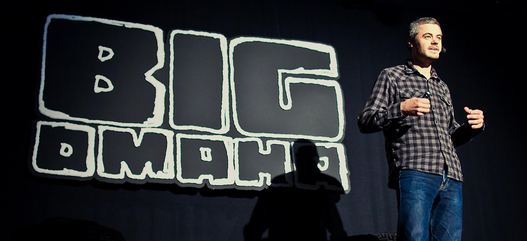 Man Talking at Big Omaha
