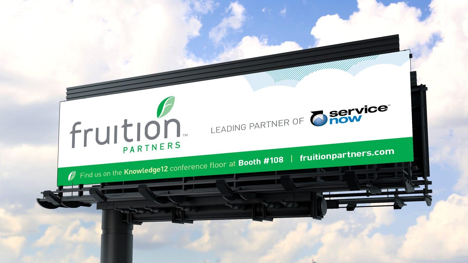 Fruition Partners billboard mockup against bright sky