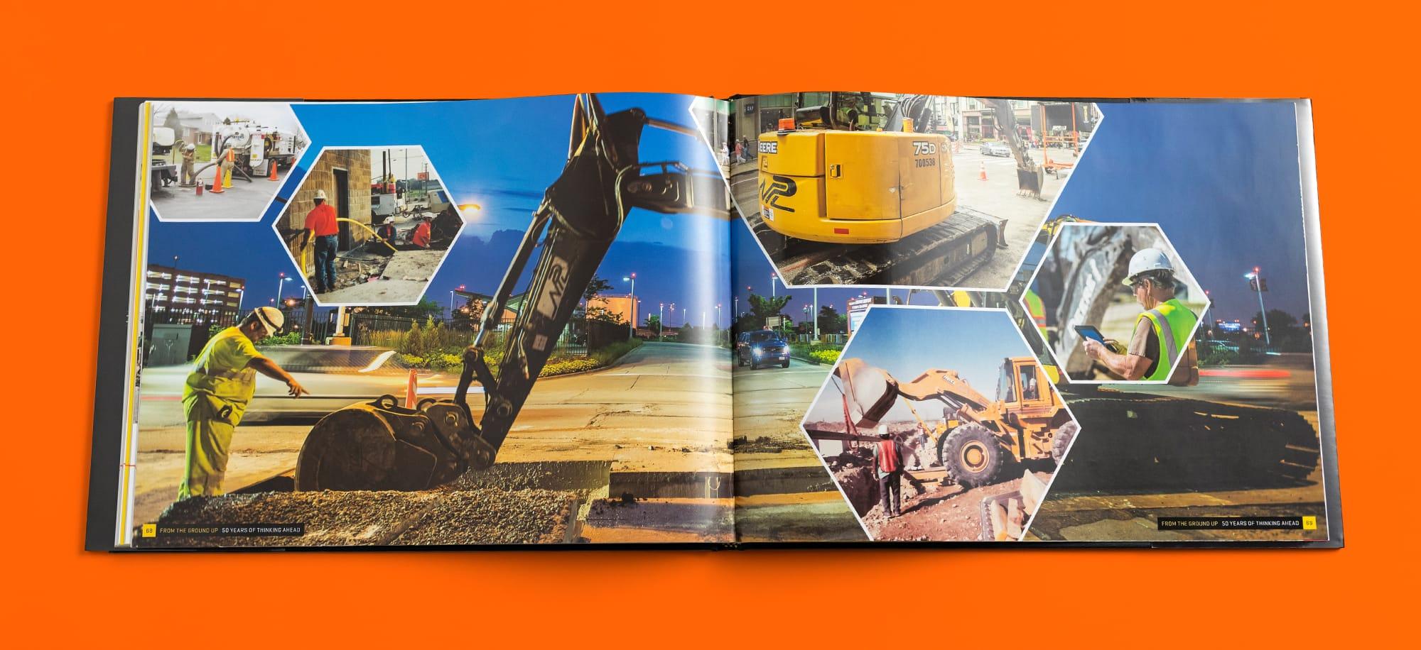 Interior image collage spread of NPL anniversary book
