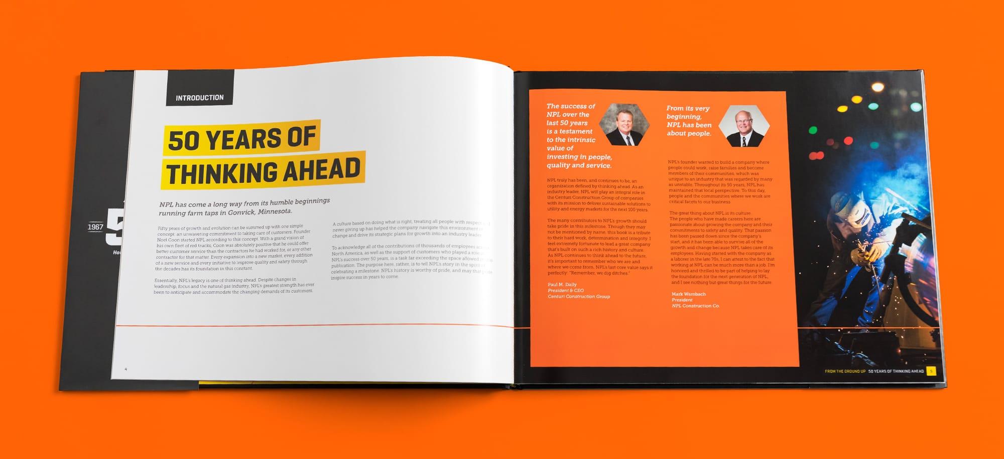 Interior introduction spread of NPL anniversary book